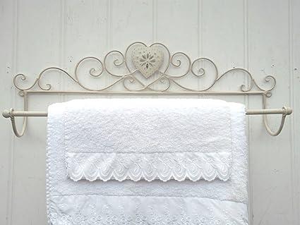 Porta Asciugamani Bagno Da Muro : Grande cuore shabby chic francese crema porta asciugamani da