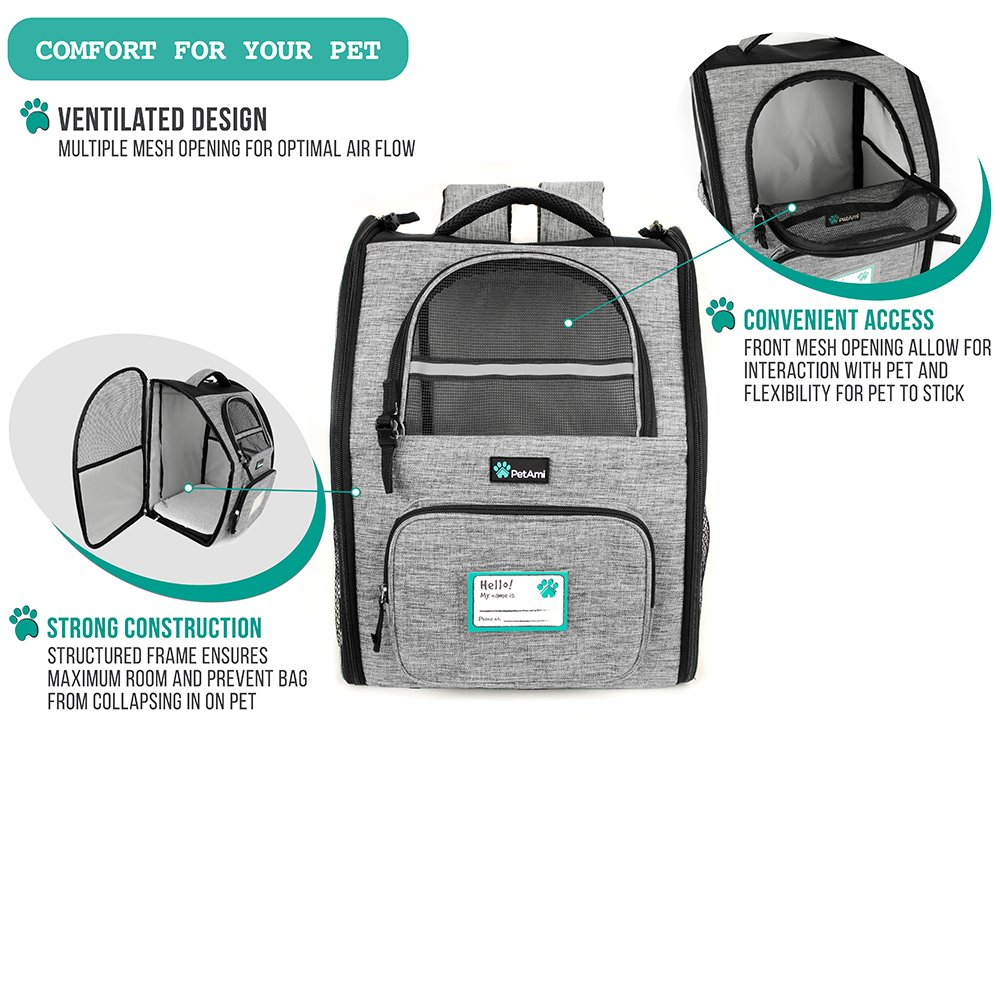 PetAmi Deluxe Pet Carrier Backpack for Small Cats and Dogs, Puppies | Ventilated Design, Two-Sided Entry, Safety Features and Cushion Back Support | For Travel, Hiking, Outdoor Use (Heather Gray) by PetAmi (Image #7)