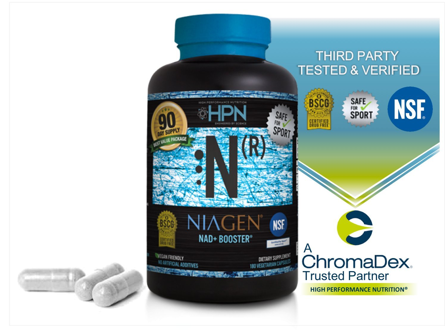 HPN Nicotinamide Riboside Metabolic Repair - 180 capsule VALUE Size - FREE 2 Day Shipping - Patented NAD+ Booster with Niagen (Nr) - The Original and Most Trusted Longevity Product