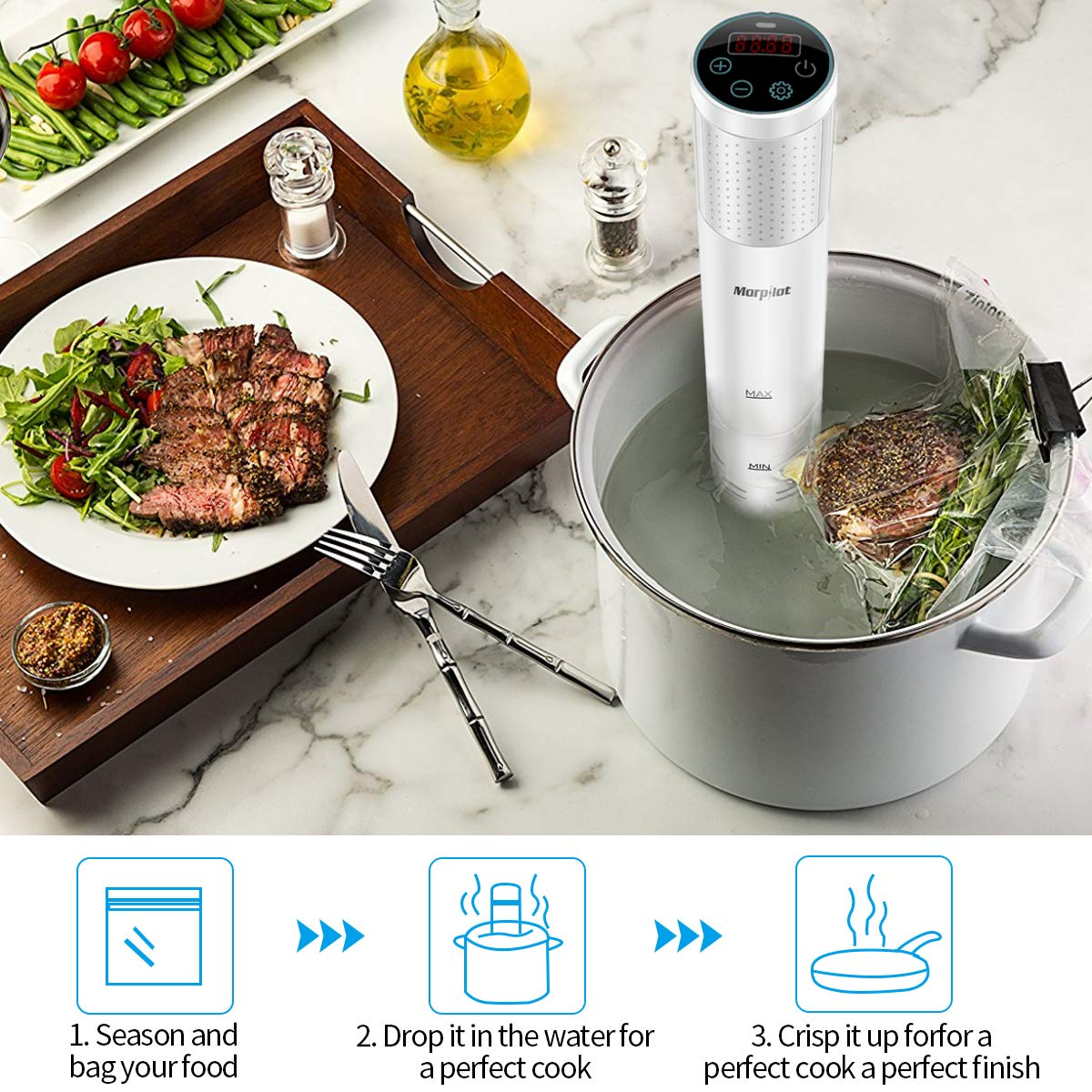 morpilot®Sous Vide Garer-Sous Vide Stick Immersion Tauchzikulator, LCD Touch Display, 1200W, 0-90°C Temperaturbereich, 3D-Circulation (mit Kochbuch)