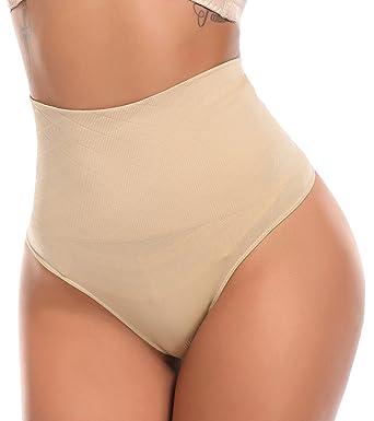 d390ce51f671b SLIMBELLE Women Thong Shapewear Control Panties High Waist Cincher Girdle  Tummy Slimmer Belly Trainer-Beige