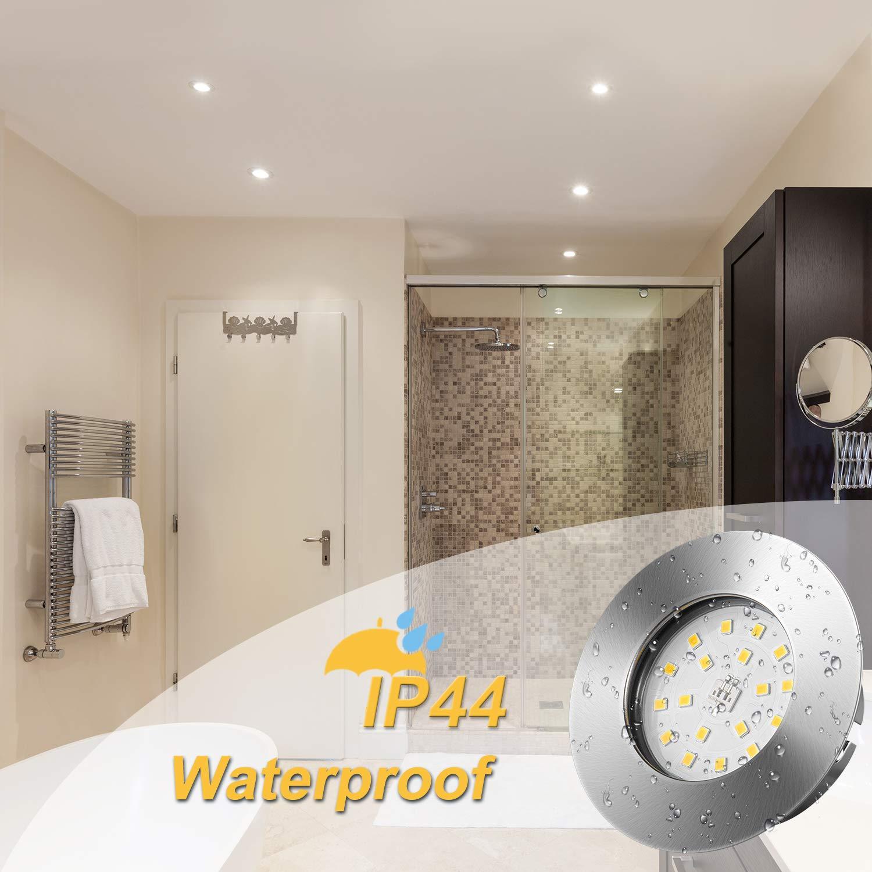 Ojos de Buey de LED Ba/ño Wowatt Foco LED Empotrable Techo IP44 Extraplano 6W 2800K Equivalente a Halogeno 50W Luz de Techo Estancos Blanco C/álido 540lm foco techo Empotrable AC 220V Redondo