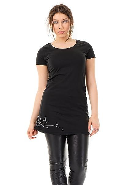 1ed7dd512d91 3Elfen abito T-Shirt Longshirt da fata prendisole   vestiti donna Senza  maniche nero