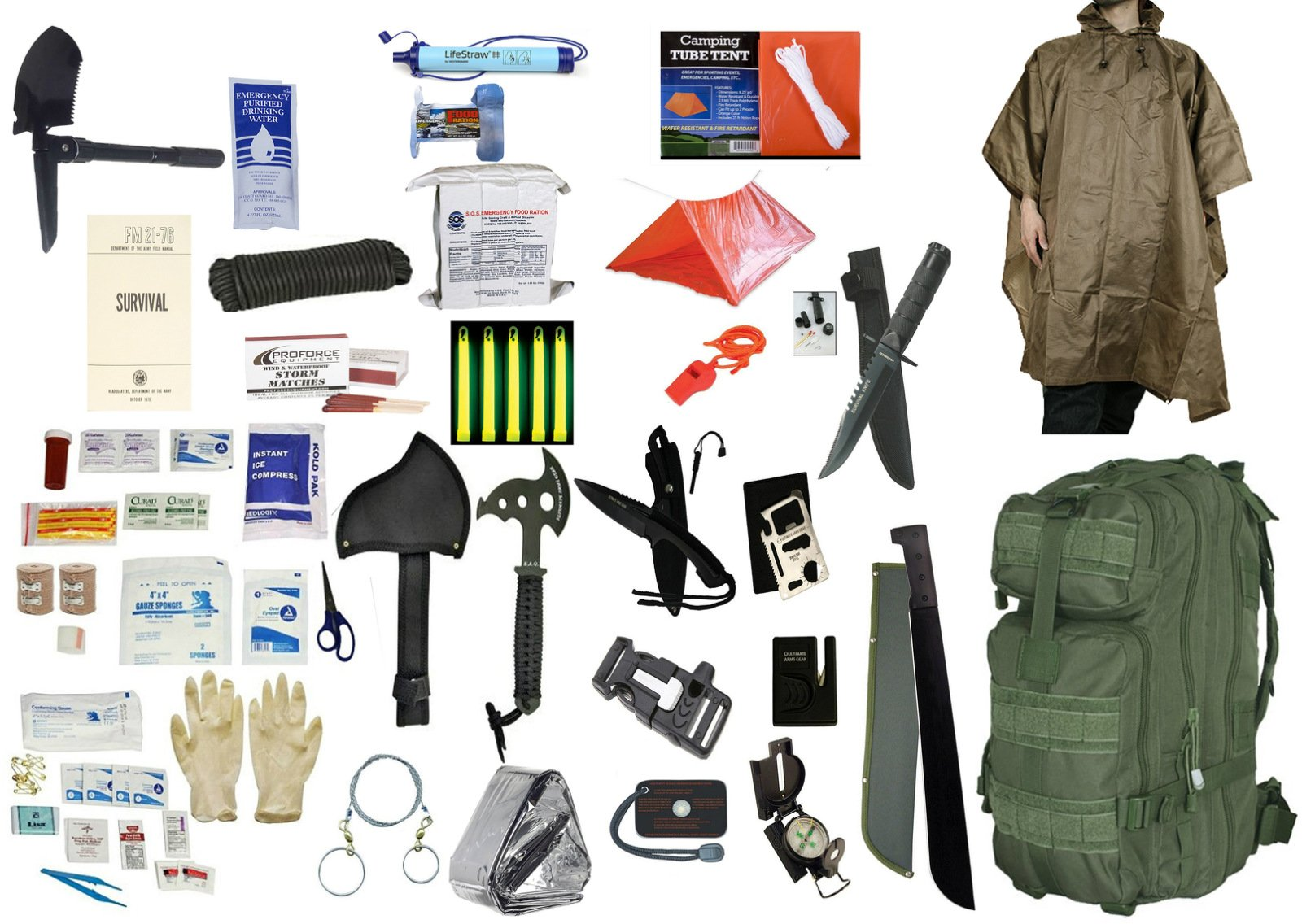 4 Person Supply 3 Day Emergency Bug Out S.O.S. Food Rations, Drinking Water, LifeStraw Personal Filter, First Aid Kit, Tent, Blanket, OD Backpack, Tan Poncho + Essential 21 Piece Survival Gear Set