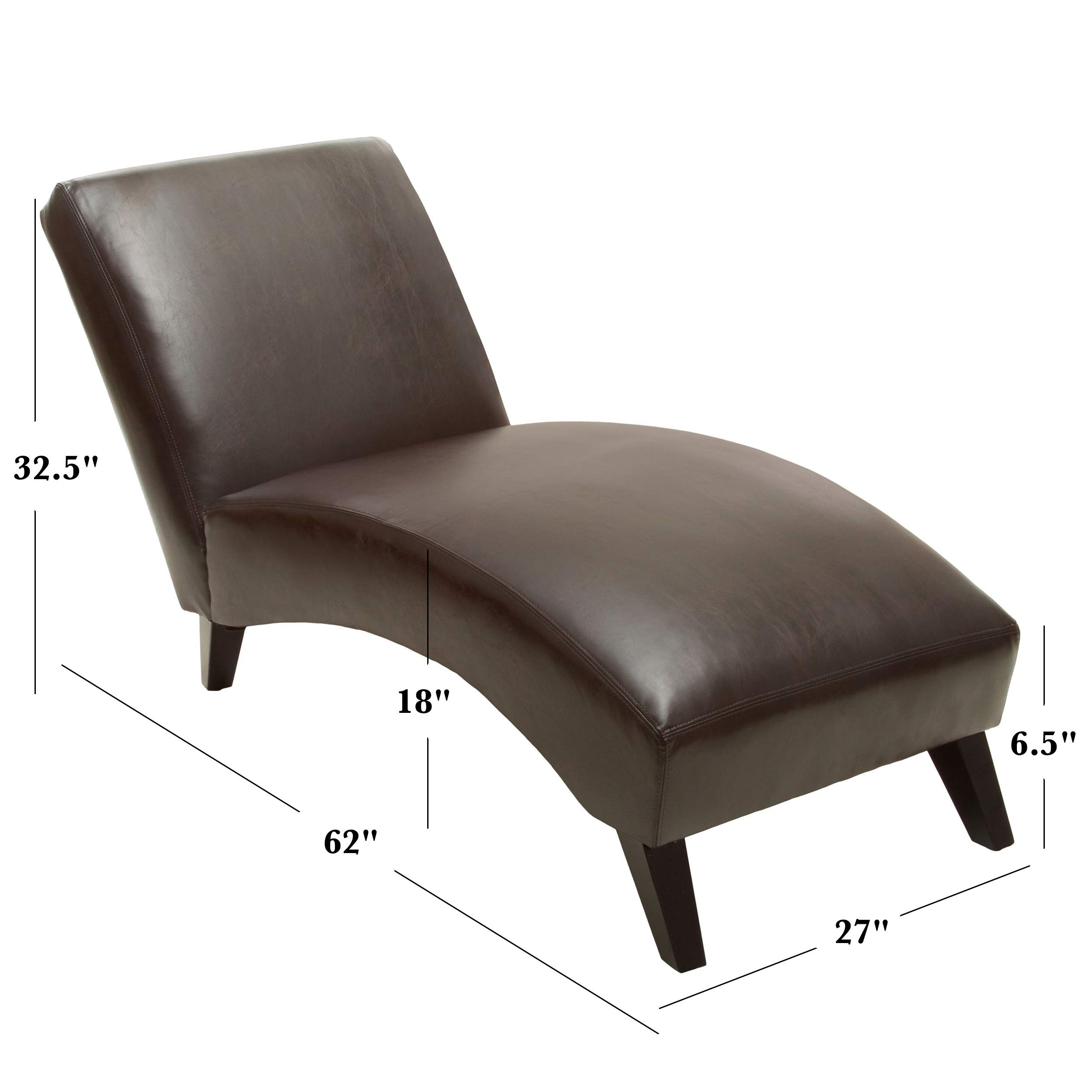 Christopher Knight Home Cleveland Brown Leather Curved Chaise Lounge Chair by Christopher Knight Home