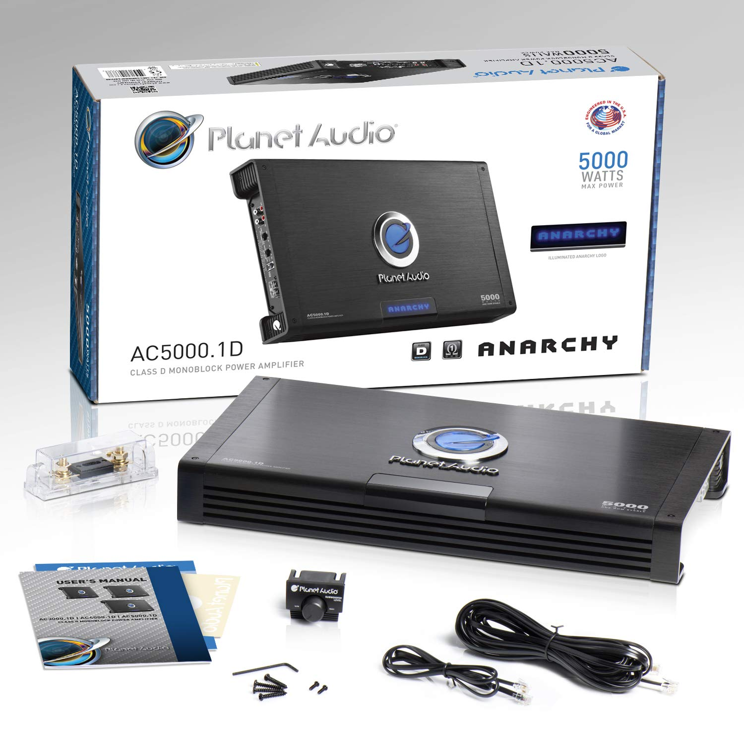 Remote Subwoofer Control Monoblock Planet Audio AC1500.1M Car Amplifier Class A//B MOSFET Power Supply 1500 Watts Max Power 2//4 Ohm Stable