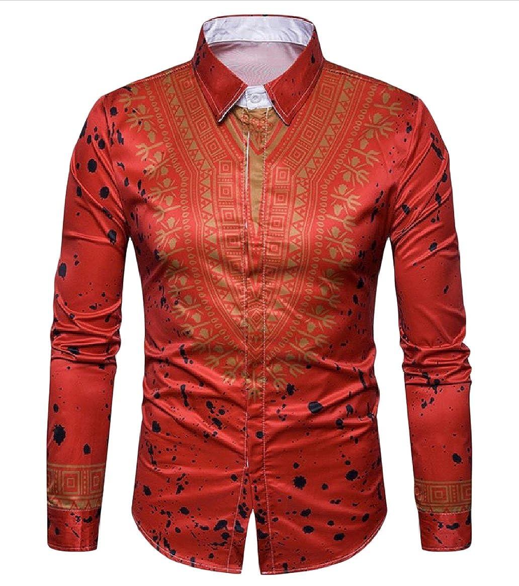 CuteRose Mens African Cotton Flower Print Stylish Long Sleeve Casual Shirts