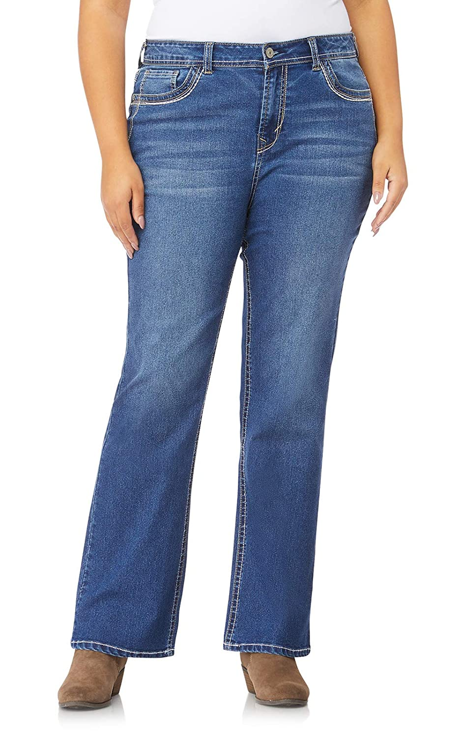 0f3fbc4e Amazon.com: WallFlower Women's Juniors Plus Size Basic Legendary Stretch Bootcut  Denim Jeans: Clothing