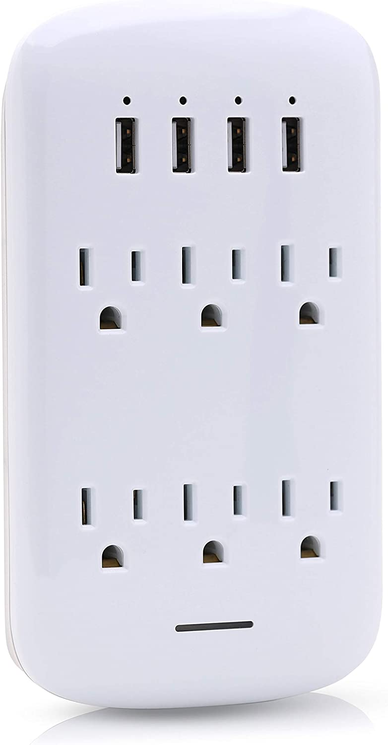 Luxtronic Multi Outlet Wall Adapter, Surge Protector with 4 USB Charging Ports (4.2 Amps Total) 6 AC Outlet Splitters ETL Certified, Sleek and Fashionable Curve Design (1)