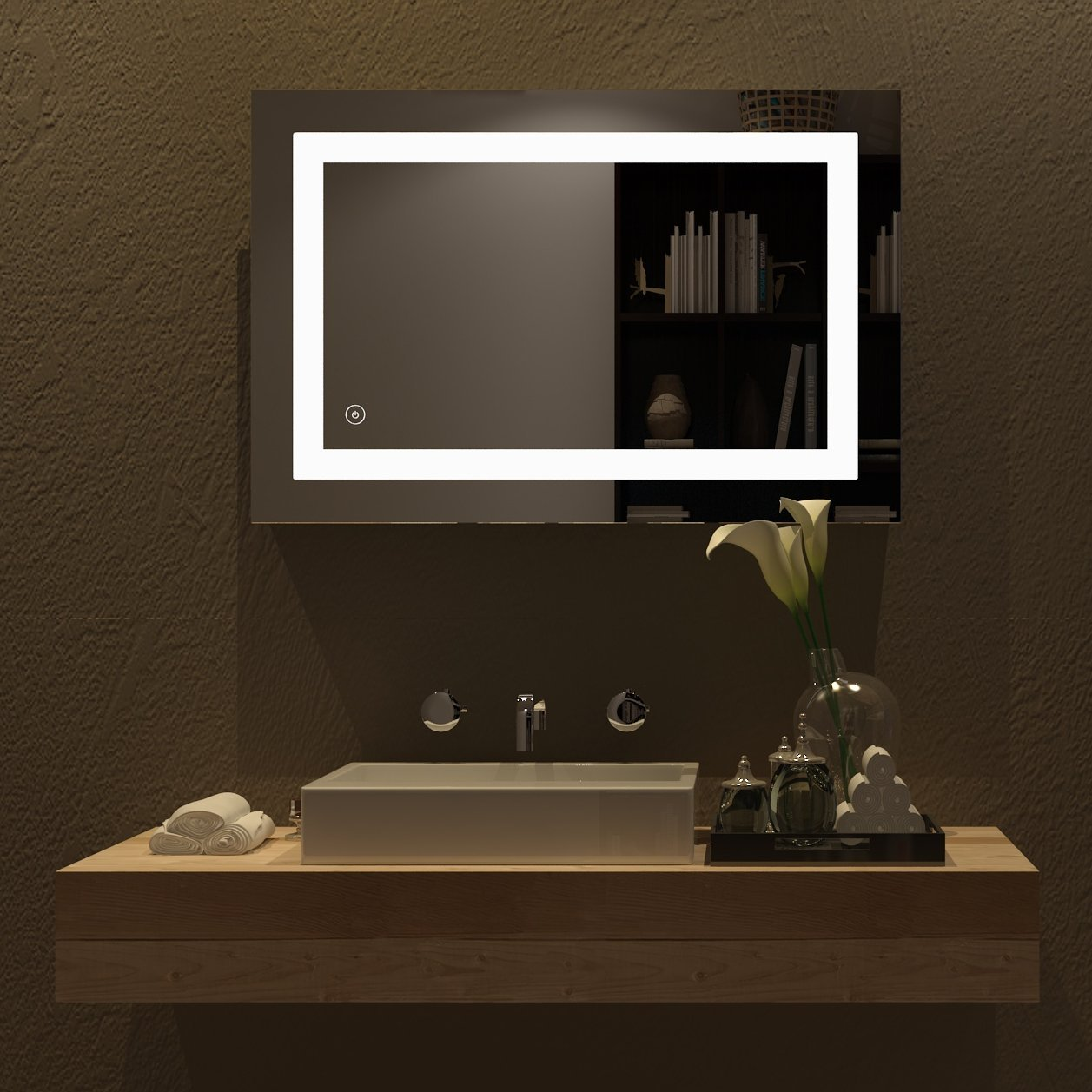 HOME SCEVA Vanity Bathroom LED Lighted Mirrors Frameless Backlit Wall Mirror anti fog with touch button(35.4 x 23.6 In)