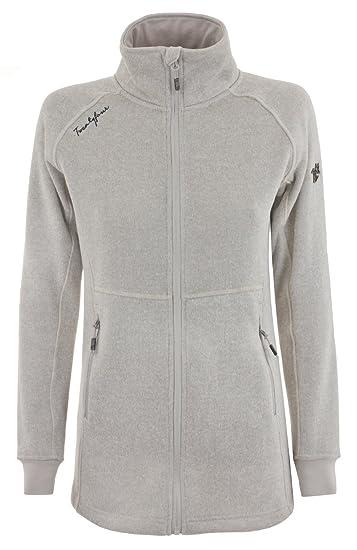 Twentyfour Damen Strick Fleece Mantel Fender Lange Strickfleece Jacke mit mit hohem Kragen und ohne Kapuze, weiß graumeliert, 34, 466792