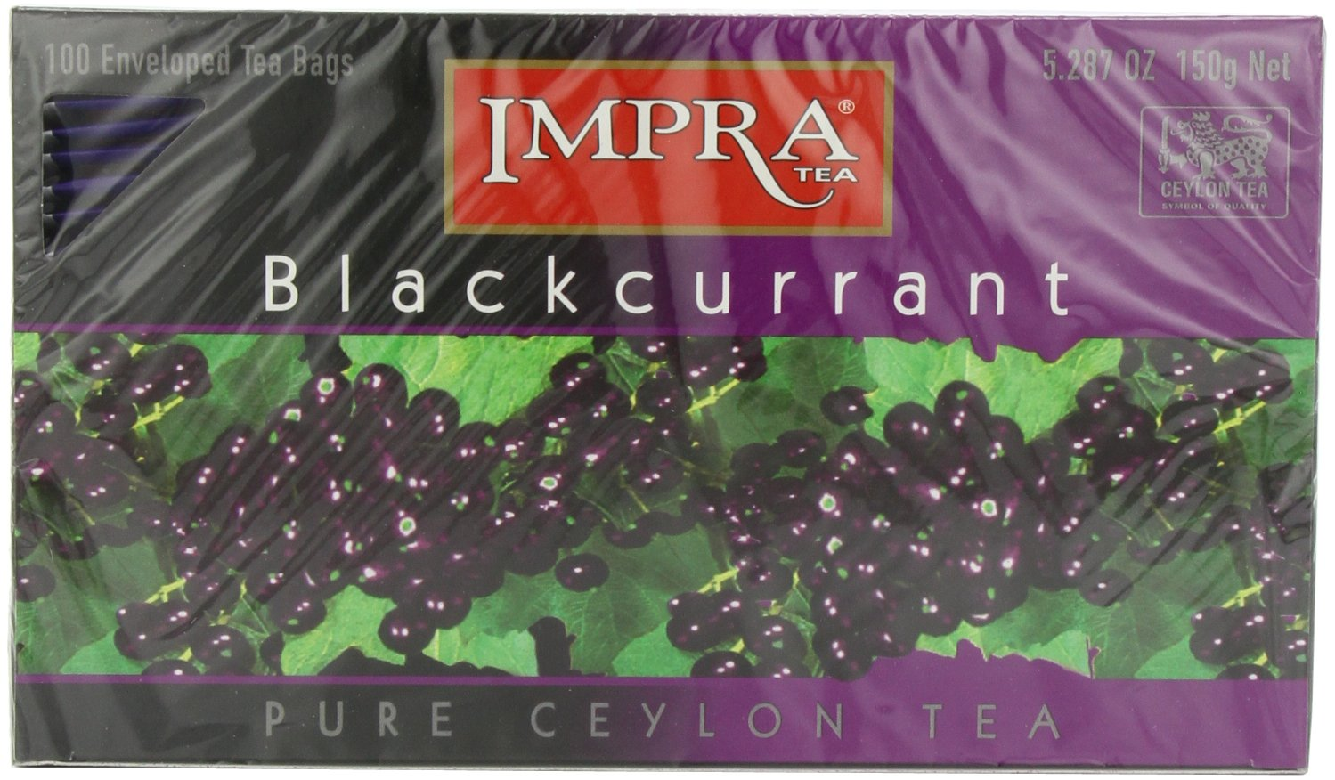 Impra Black Currant Tea, 100-Count Tea Bags (Pack of 6)