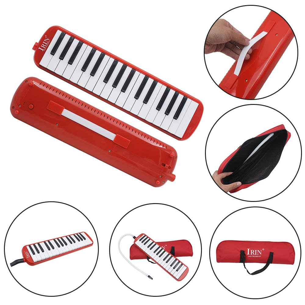 Baisidai 32 Key Piano Style Melodica with Box Organ Accordion Mouth Piece Blow Key Board (Red)