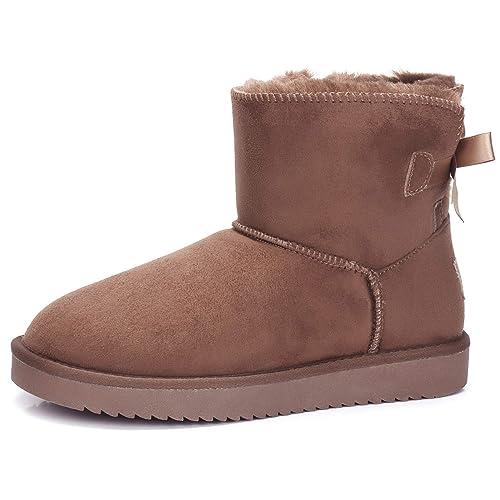 buy popular 3f0b5 5cc11 CAMEL CROWN Schlupfstiefel Damen Winterschuhe Faux Wildleder Winter Warm  Bowknot Boots Winterstiefel Flach Klassisch Stiefeletten Rutschfest für ...