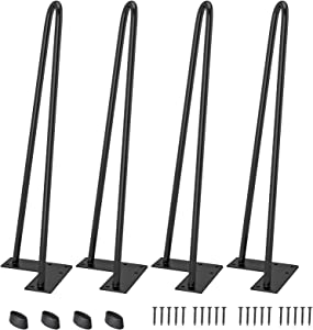 """LDB_Building 18"""" Hairpin Table Legs (1/2'' Rod), Set of 4 Industrial Metal Heavy Duty Furniture Legs, Satin Black, for DIY Coffee Table, Desks, Stands with Floor Protectors"""