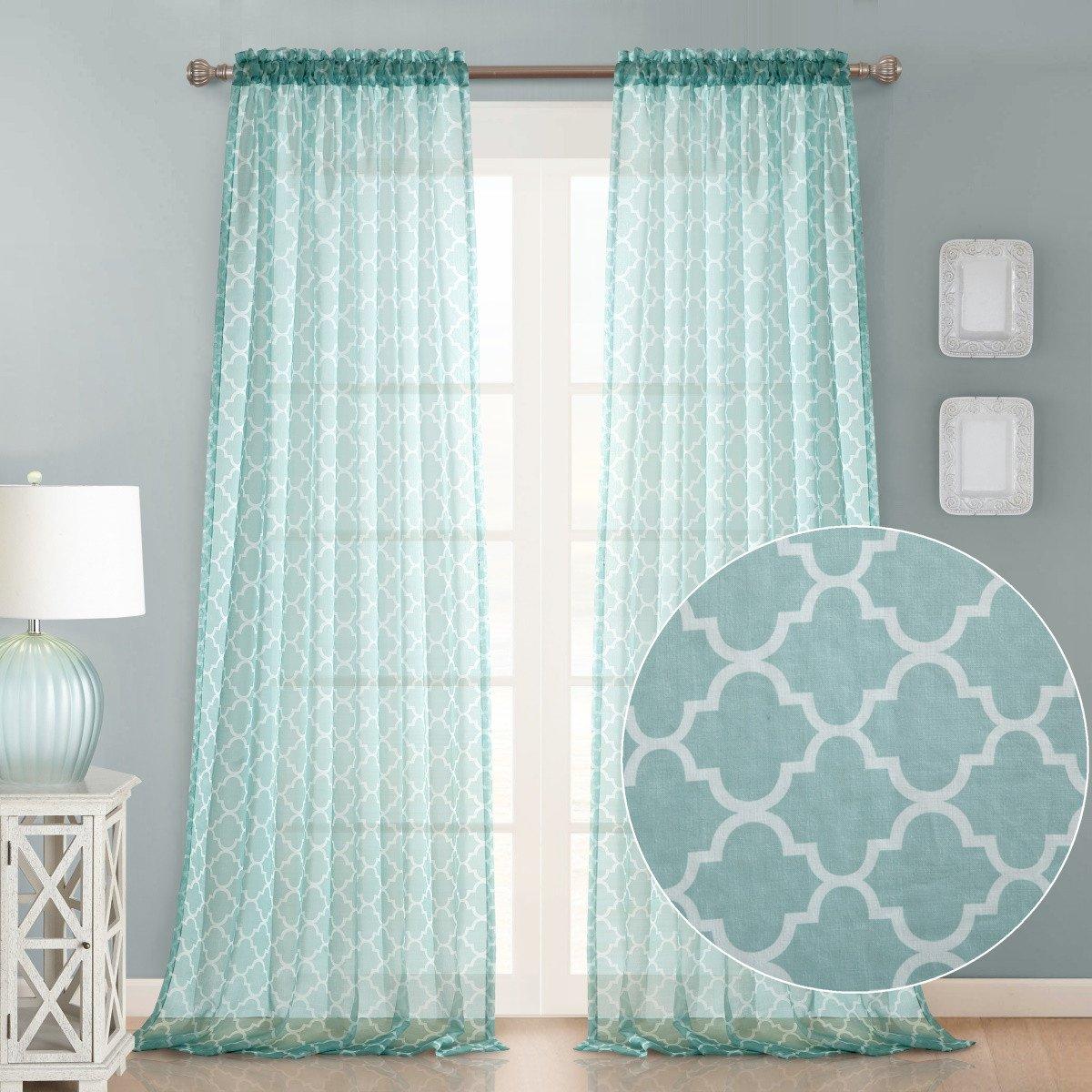 Dreaming Casa Decorative Sheer Curtain Panels for Bedroom, Living Room, Nursery, RV Windows 84Inches Long Semi Voile Drapes Rod Pocket Trellis 2 Panels (Tiffany Blue, 100'' Wx 84'' L)