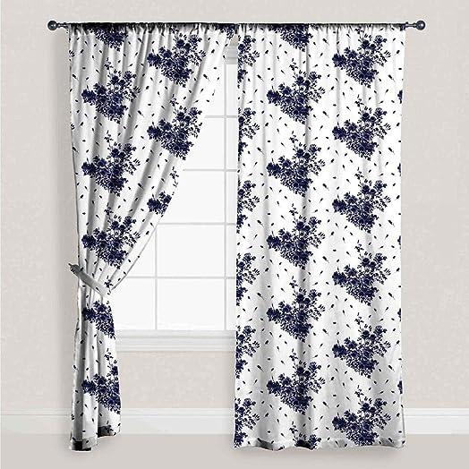 Vera Neumann Rose Floral Paisley Pole Top Window Curtain Drape