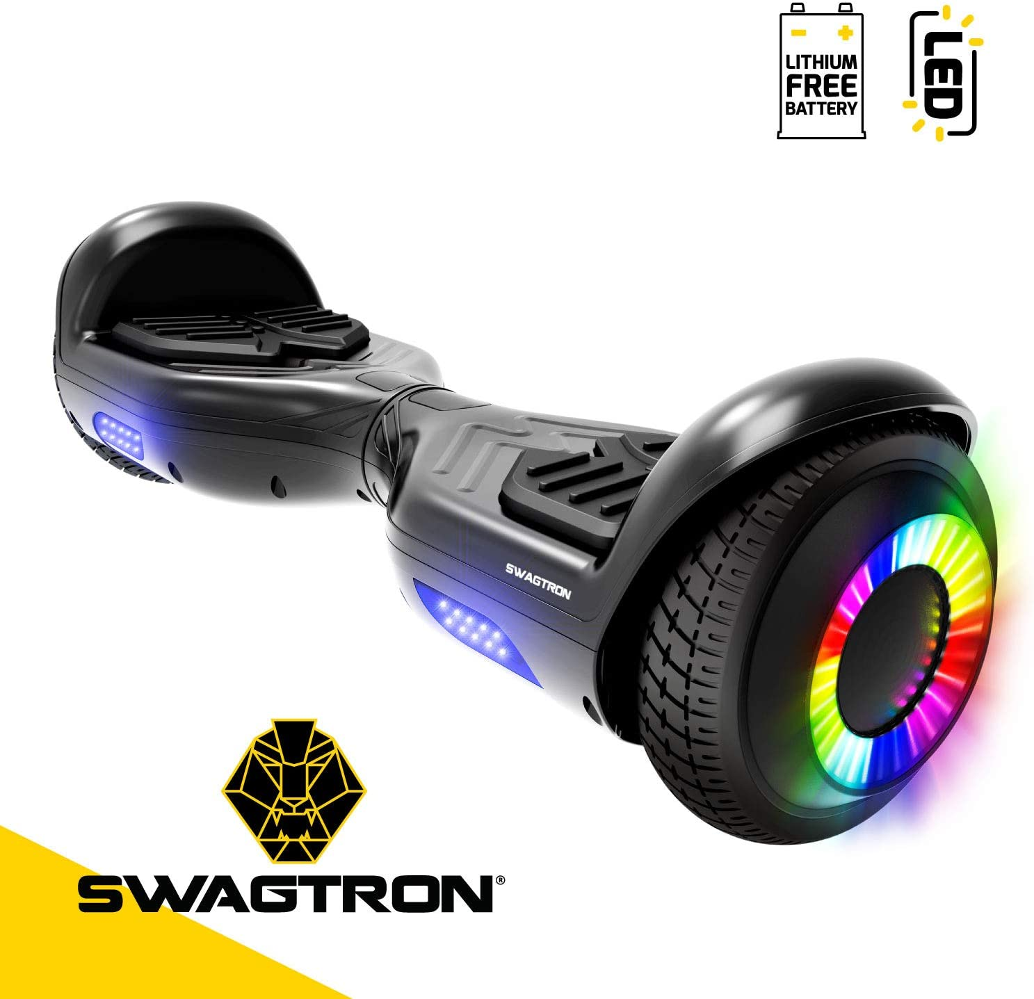 Swagboard Twist Lithium-Free Kids Hoverboard LED Black / US
