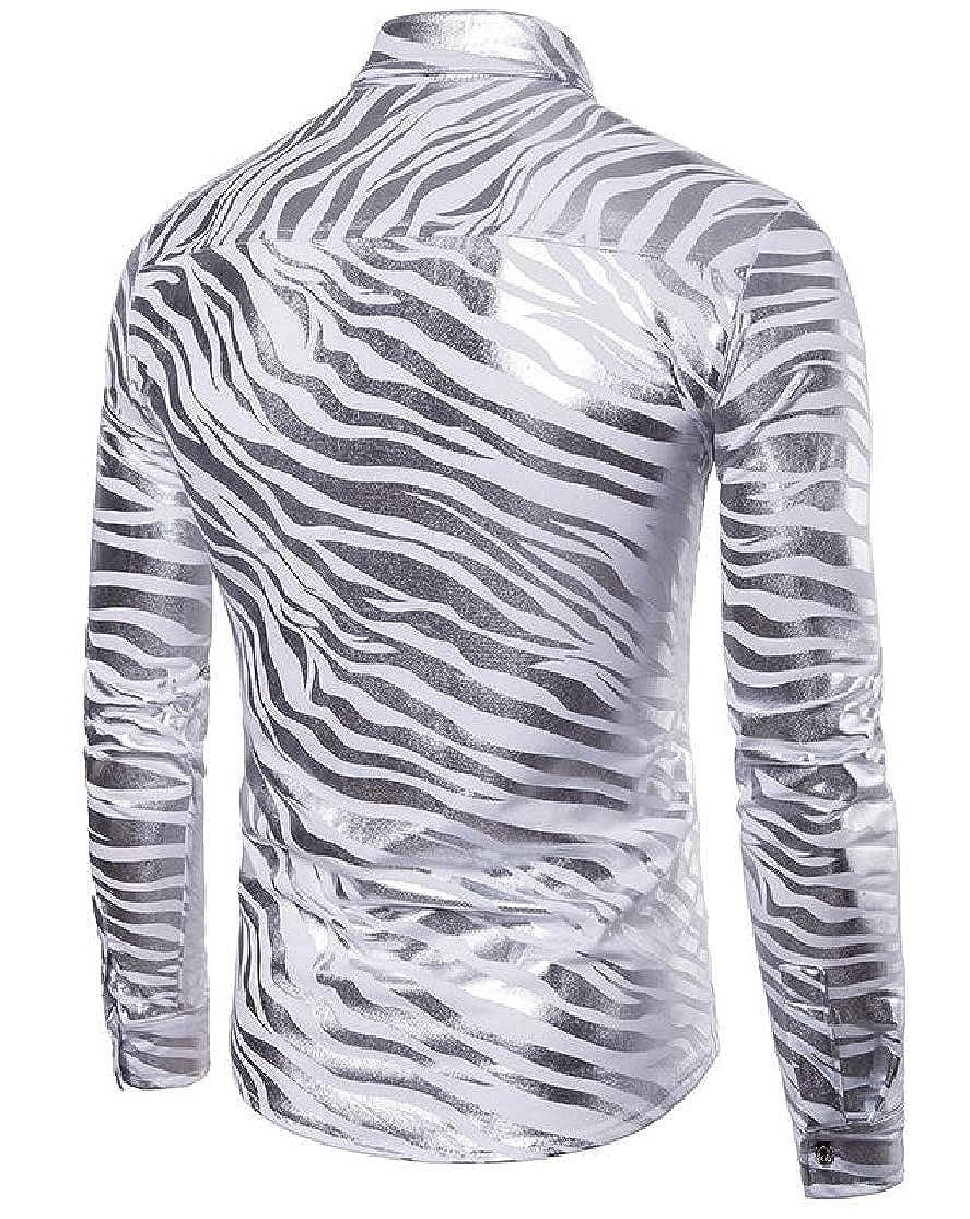 Cromoncent Mens Classic Fit Long Sleeve Button-Down Zebra-Stripe Lapel Shirts