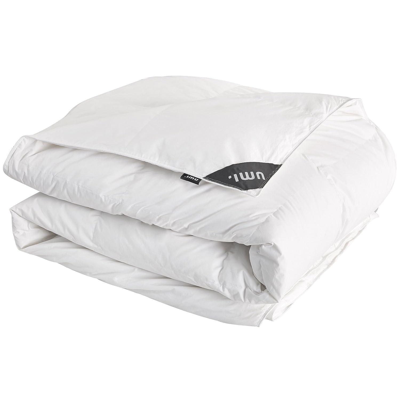 Umi.Essentials Weiße Gänsedaunen-und Federbettdecke mit 100% Baumwollmuschel, Sommer Leicht Bettdecke,  225x220cm Weiß