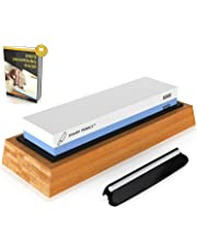 Premium Sharpening Stone- 2 Side Whetstone 1000/6000 - Knife Sharpening Stone- NonSlip Bamboo Base, Angle Guide & eBook