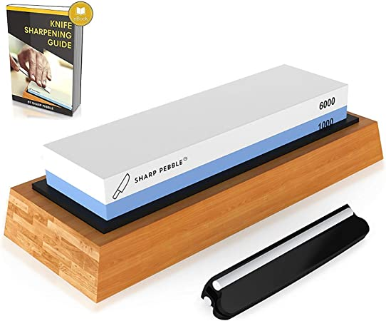Sharp Pebble Premium Whetstone Knife Sharpening Stone 2 Side Grit 1000/6000 Waterstone | Best Whetstone Sharpener | NonSlip Bamboo Base & Angle Guide