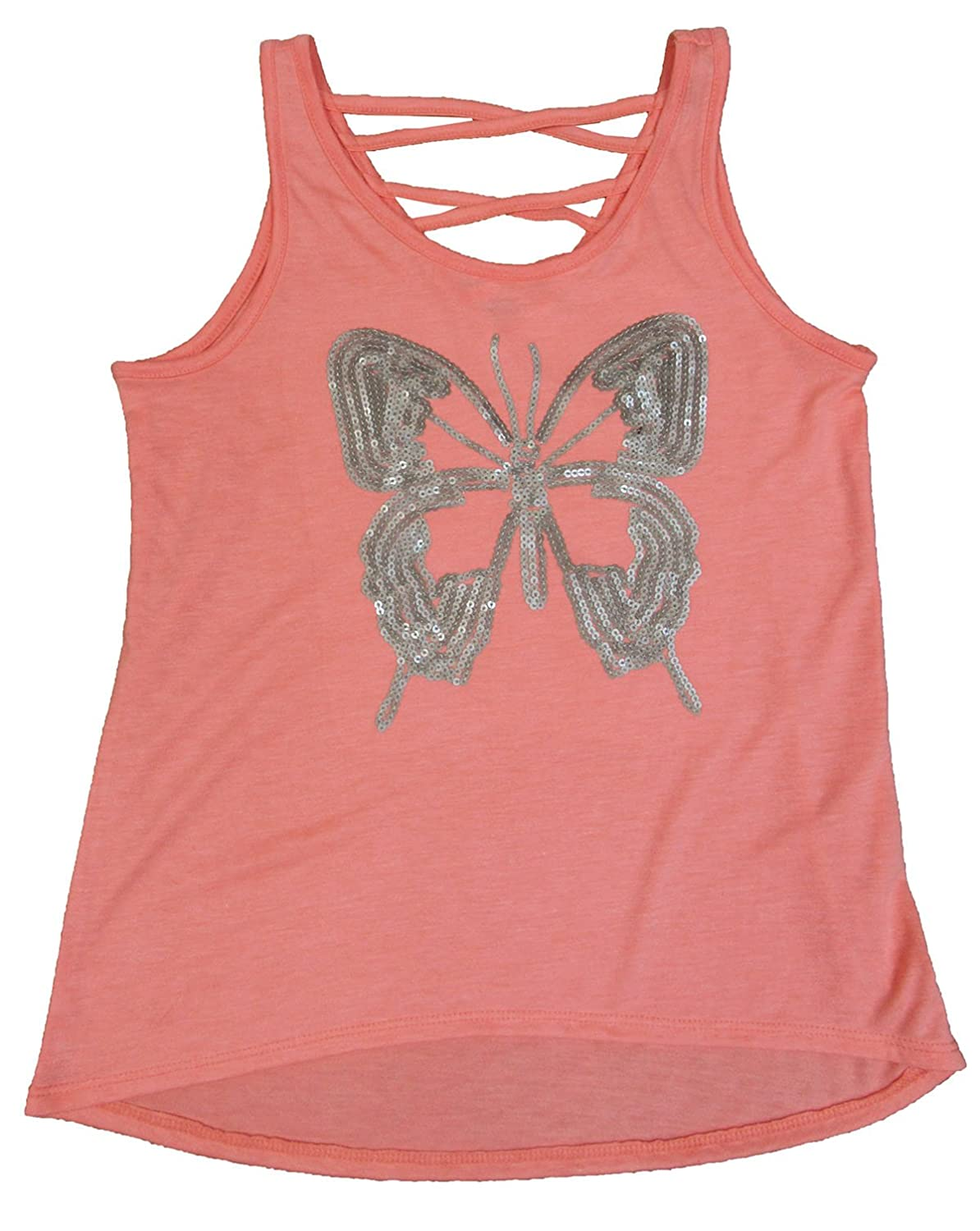 Epic Threads Big Girls Butterfly Graphic-Print Sequined Tank-Top Lava Guava Large