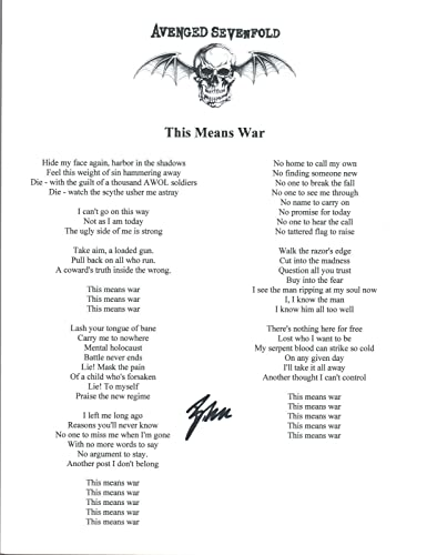 Brooks Wackerman Signed Avenged Sevenfold THIS MEANS WAR Song Lyric ...
