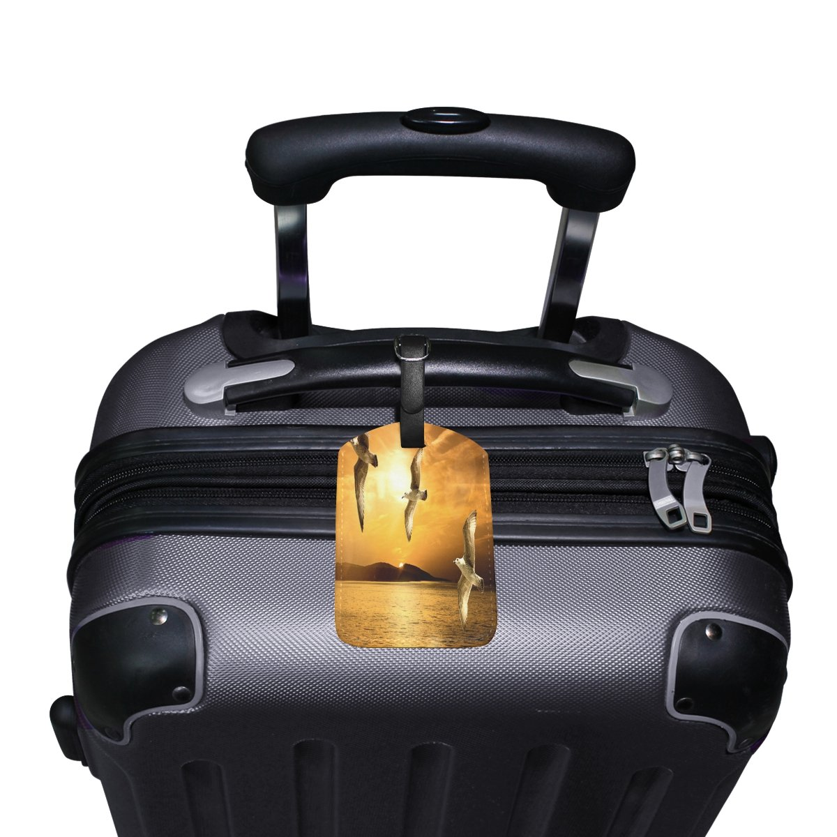 1Pcs Saobao Travel Luggage Tag Flying Seagulls PU Leather Baggage Suitcase Travel ID Bag Tag