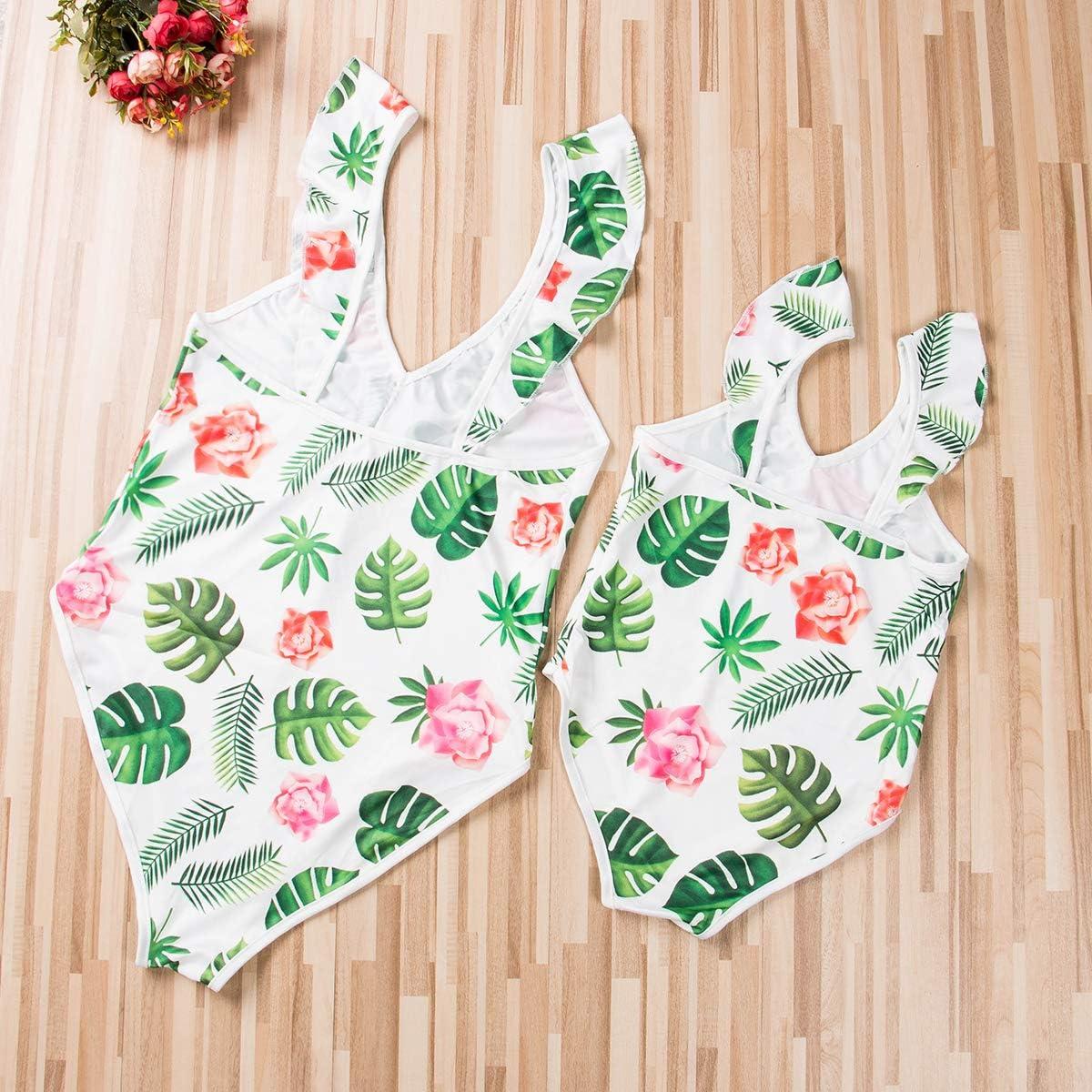 Mommy Baby Girl One Piece Tankini Family Matching Ruffle Flounce V-Neck Swimsuit