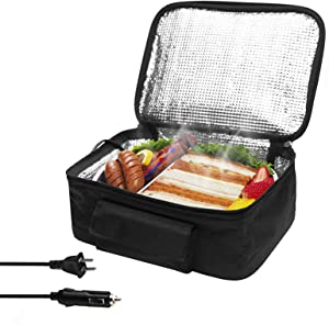 Portable Oven Heated lunch box Food Warming Tote(12V and 110V Dual Use) Heating hamburger lunch and other food warming tote,Lunch Box for Office, Travel, Potlucks, and Home Kitchen