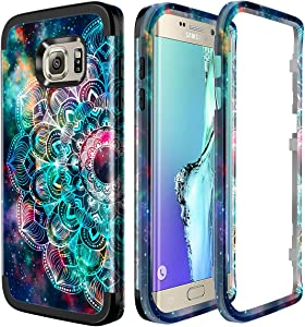Lamcase for Galaxy S6 Edge Case Shockproof Dual Layer Hard PC & Flexible Silicone High Impact Durable Bumper Armor Protective Case Cover Samsung Galaxy S6 Edge G925, Mandala/Galaxy