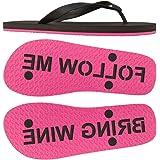 FlipSidez Womens Follow Me Bring Wine sand imprint flip flops