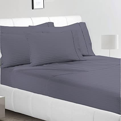Avi 300 TC Stripes Cotton Extra Large Bed Sheet With 2 Pillow Cover, Dark  Blue