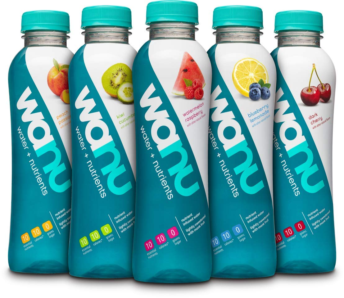 wanu water Fiber-Infused Fruit-Flavored Water, Variety Pack, 16 oz Bottles (Pack of 12), Assortment of Flavors May Vary