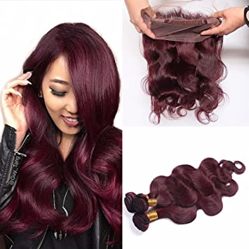 Ruma Hair Wine Red 360 Lace Frontal With Bundles 4Pcs Lot 8A  99J Burgundy  Brazilian f1e4003e1