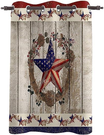 WARM TOUR Window Curtain Panel Retro American Flag Texas Star Printing Decor Durable Drapes