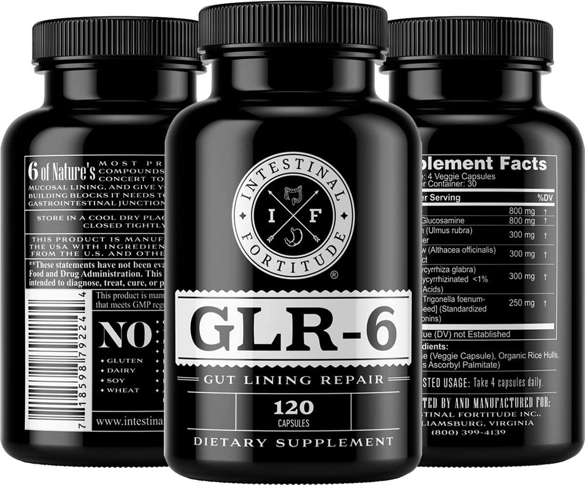 Intestinal Fortitude – GLR-6 – Leaky Gut Support – 120 Capsules – Support Intestinal Cells, Relieve Irritation, Protect Against Leaky Gut, Aid intestinal Lining