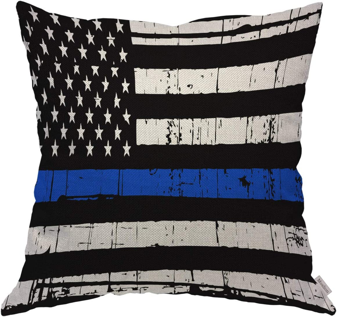 Moslion Throw Pillow Cover Case Vintage Weathered Thin Blue Line US Flag Law Enforcement Cotton Linen Cushion Covers for Couch/Sofa/Kitchen/Car/Boy Gilrs Bedroom Livingroom 18 x 18 inch Pillow case