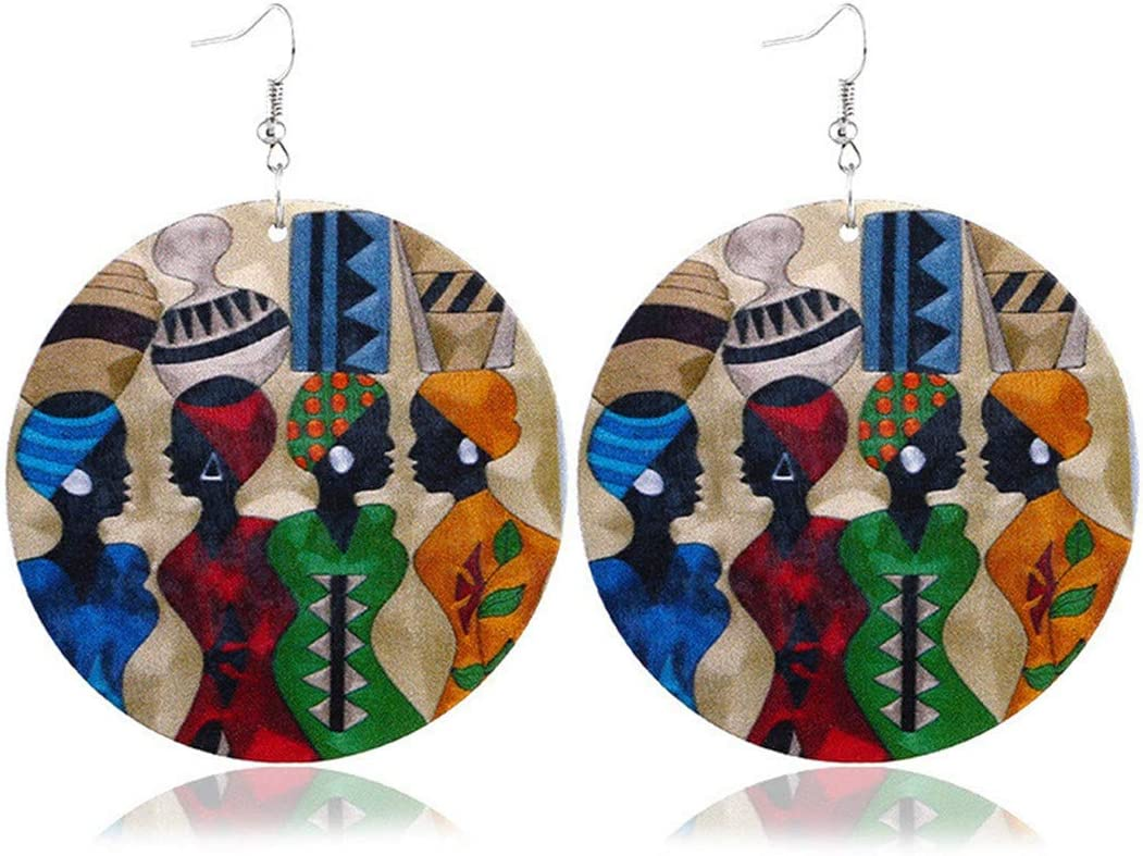 Idiytip Les Femmes de Style Africain Ont Imprim/é des Boucles doreilles Rondes en Bois Exag/ér/ées