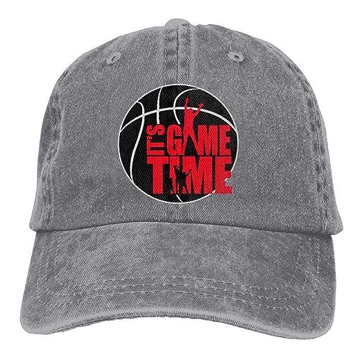 S Game Time Basketball Denim Baseball Caps Hat Adjustable Cotton ... 89e63d1a0b3