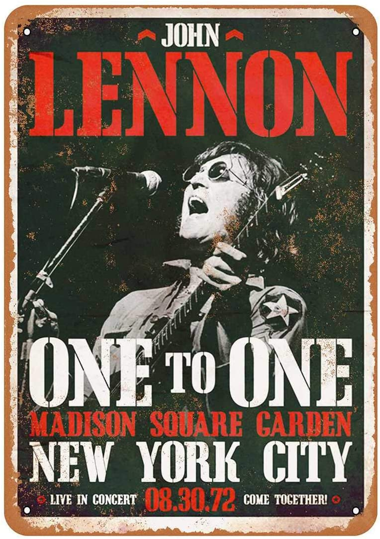 """Amazon.com: PotteLove John Lennon Madison Square Garden Vintage Aluminum  Metal Signs Tin Plaques Wall Poster for Garage Man Cave Beer Cafee Bar Pub  Club Shop Outdoor Home Decor 12""""x8"""": Home & Kitchen"""