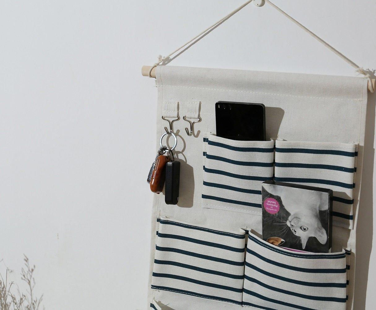 Ebeta Colgando Organizador Puerta Pared Organizador Utilidad de bolsillo Bolsa de almacenamiento colgante para el ba/ño del vestuario de entrada 5 compartimentos con 2 ganchos de llave