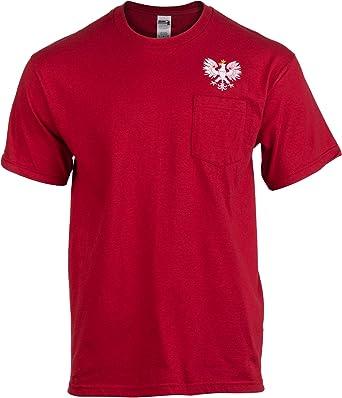 Polska Crest  Poland Polish Pride White Eagle Soccer Red Basic Men/'s T-Shirt