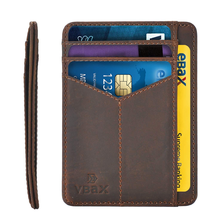Ebax Slim Wallet Leather Minimalist Front Pocket Card Holder (One Size, Vintage Leather)