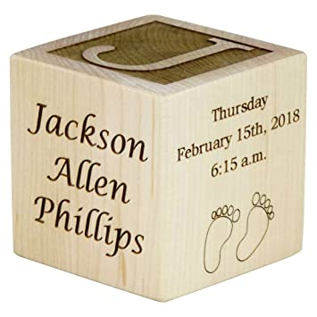 amazon com personalized wood baby birth block new baby gifts