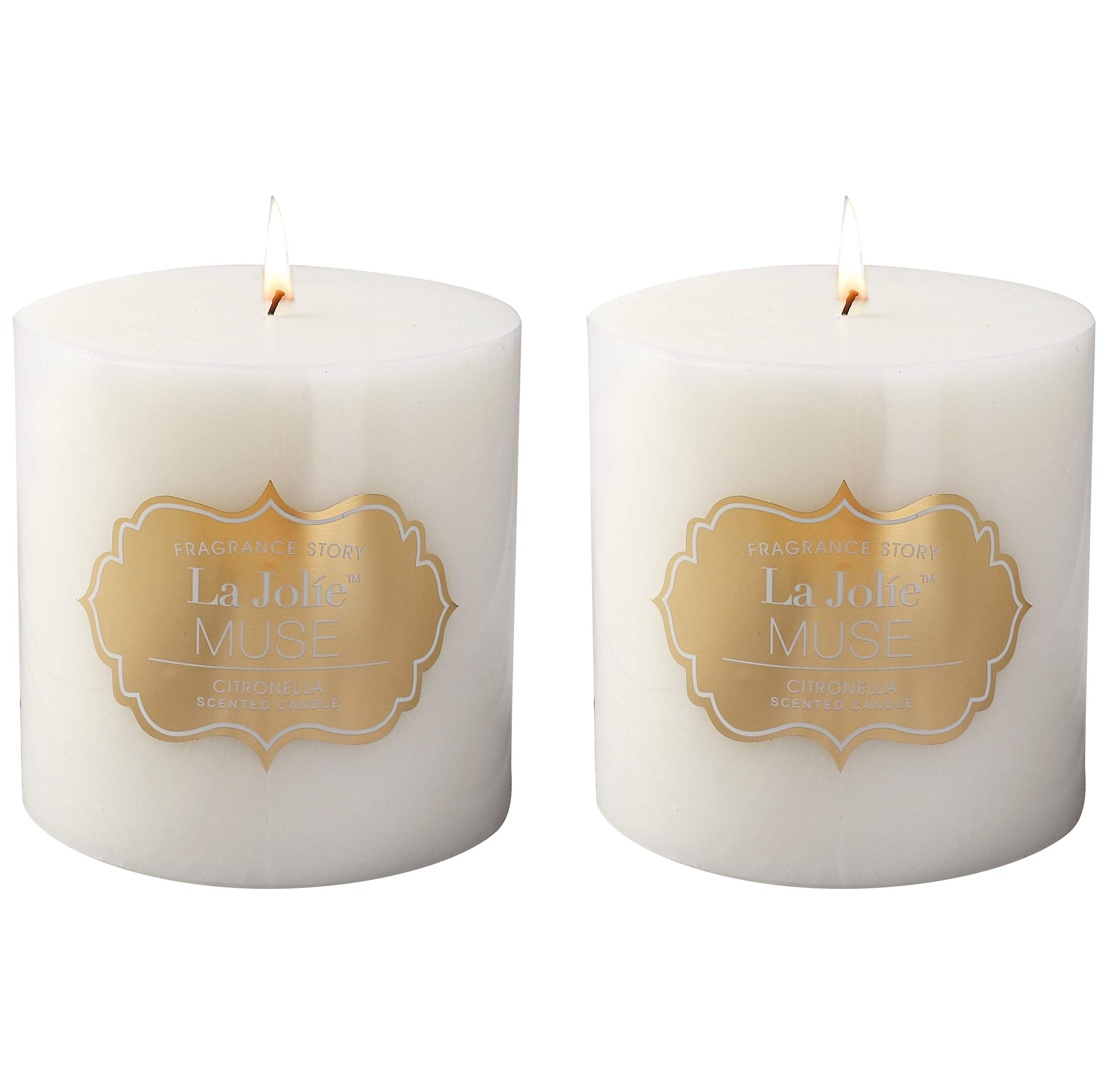 LA JOLIE MUSE Citronella Candles, Pack 2 Pillar Candle, Scented Natural Wax, 23 oz 70 Hours Burn Each, Outdoor and Indoor, White