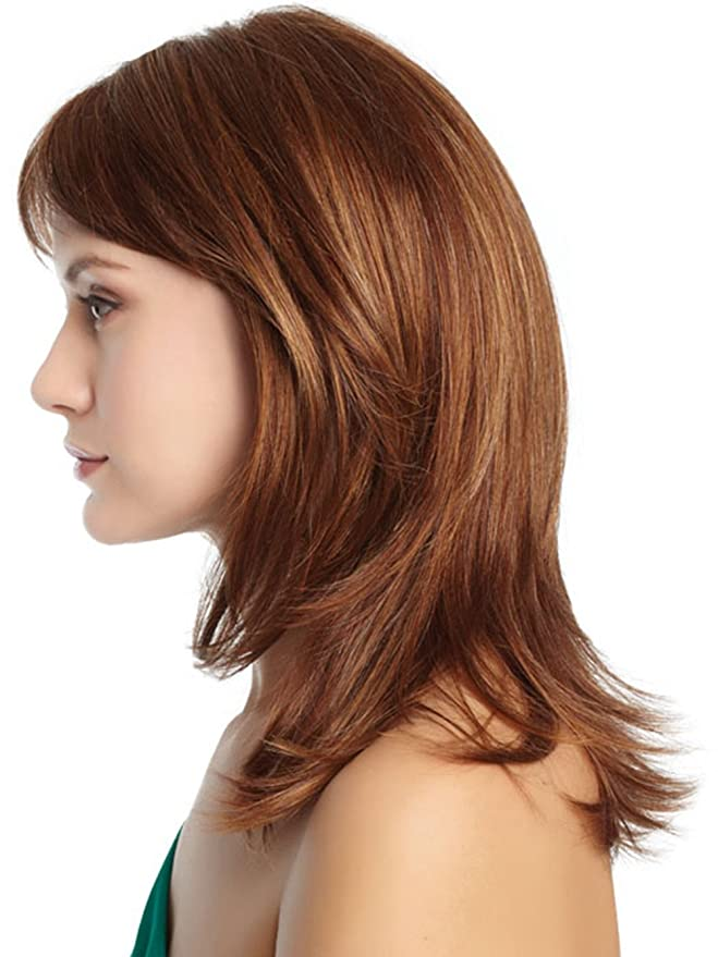 Marrón Peluca Capas sintético peluca completo Bangs para las mujeres + peluca libre: Amazon.es: Belleza