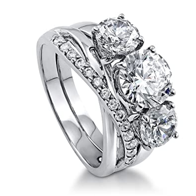 ef6635dfb4d BERRICLE Rhodium Plated Silver Cubic Zirconia CZ 3-Stone Infinity Engagement  Ring Set Size 4