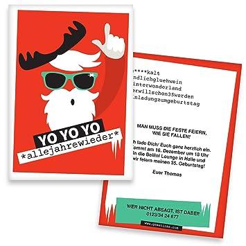 Weihnachtsfeier Einladung Text Lustig.Einladungskarten Geburtstag Yo Yo Yo 50 Stück Weihnachtsfeier Inkl Druck Ihrer Texte Einladungen Geburtstag Lustige Geburtstagseinladungen